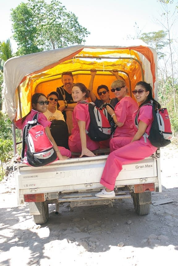 Dental Team being transported to a village